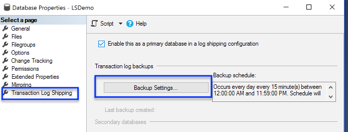 Log Shipping Backup Settings on Primary